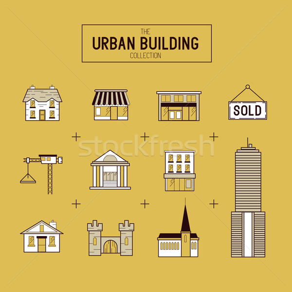 Urban building Vector Icon Set Stock photo © solarseven