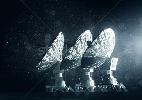 группа большой радио ночь 3d иллюстрации небе Сток-фото © solarseven
