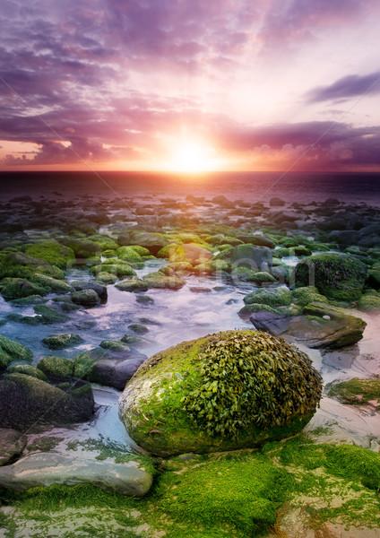 Gün batımı sahil gökyüzü manzara okyanus kaya Stok fotoğraf © solarseven