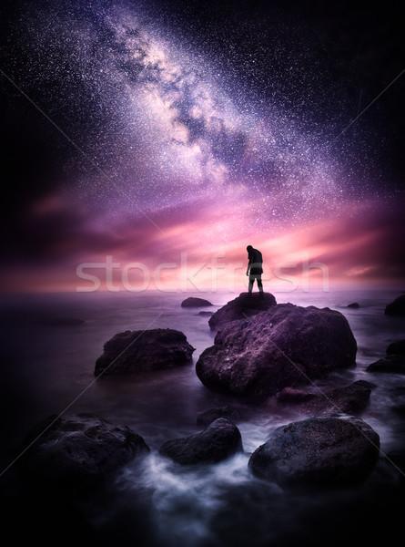 Laiteux façon océan nuit temps mer Photo stock © solarseven