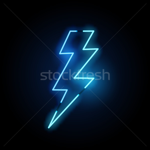 Blue Lightning Bolt Neon Light Stock photo © solarseven
