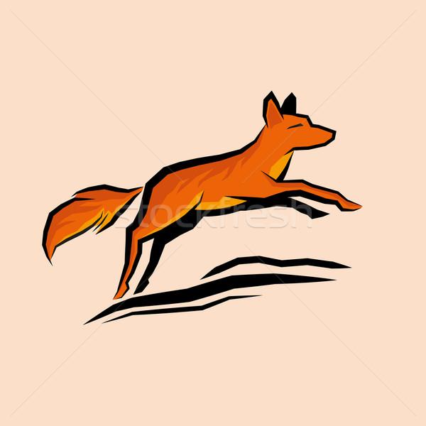 Sautant orange Fox printemps noir liberté Photo stock © solarseven