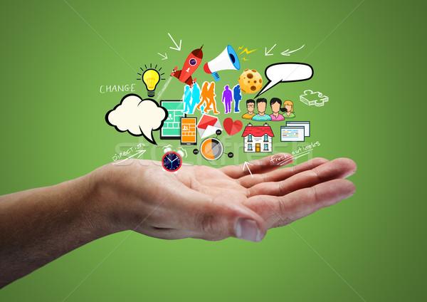 創造的思考 男 考え ビジネス 雲 ストックフォト © solarseven