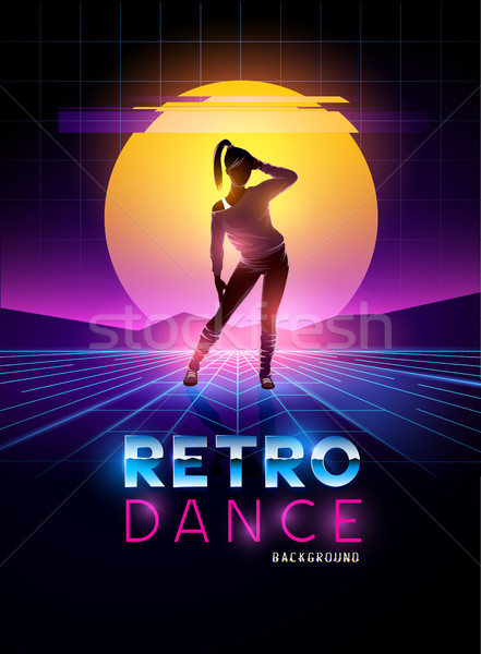Retro 1980's dancing lady with glitch sunset background Stock photo © solarseven