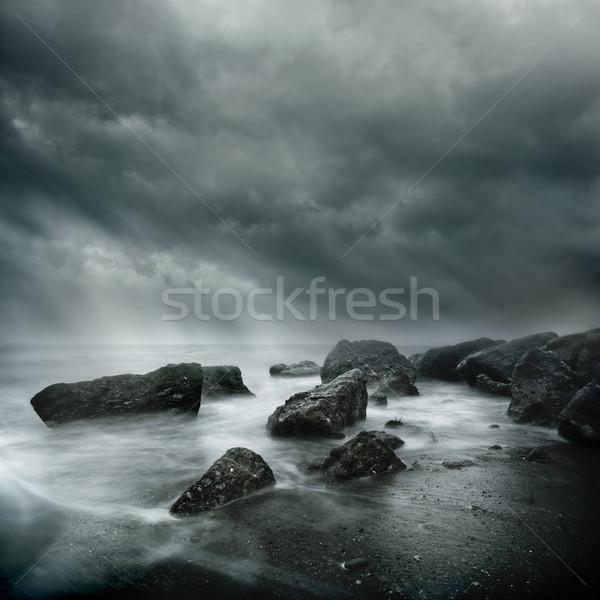劇的な シーン 海 嵐 長時間暴露 ストックフォト © solarseven