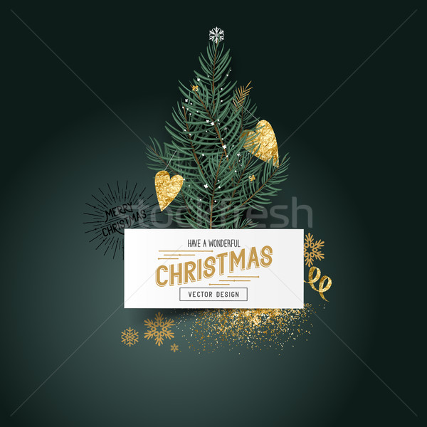 Christmas Pines and Decorations Stock photo © solarseven