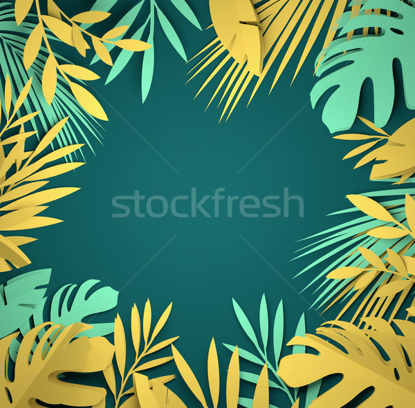 Stock photo: Paper Art - Tropical Palm Leaves
