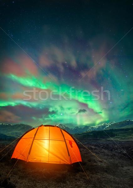 Camping noordelijk lichten tent nacht Stockfoto © solarseven