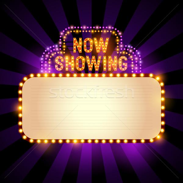 Cine signo vintage teatro luces habitación Foto stock © solarseven