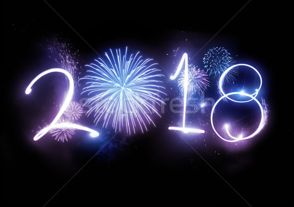 2018 Happy New Year Fireworks Stock photo © solarseven