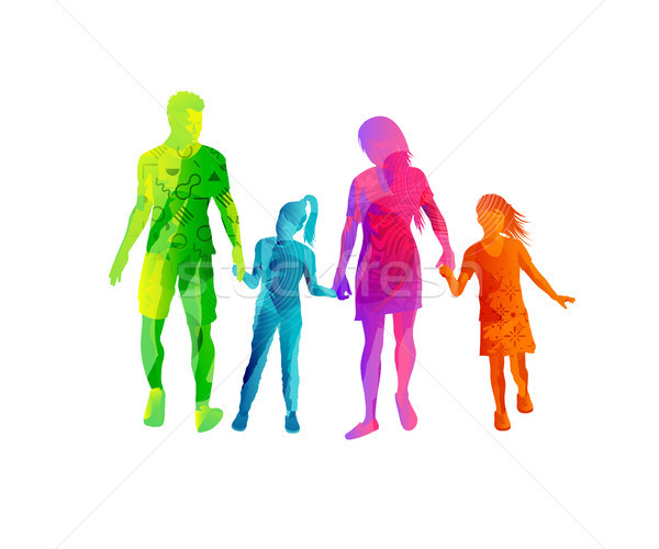 Stock photo: Happy Family Walking And Holding Hands