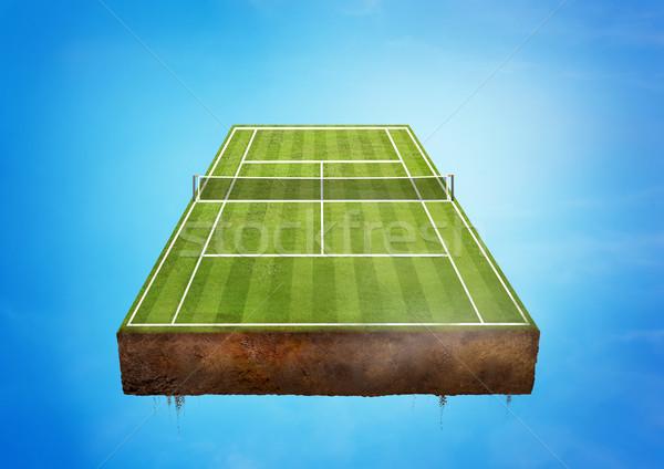 Quadra de tênis flutuante verde esportes céu esportes Foto stock © solarseven