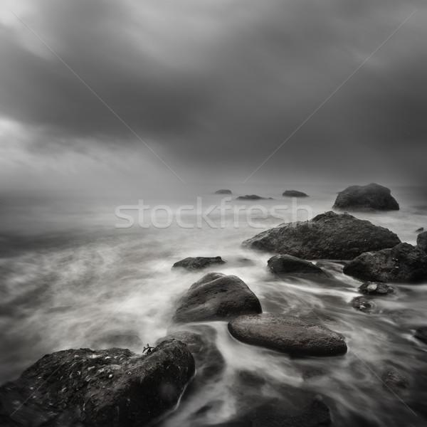Tenger vihar hosszú expozíció egyenetlen part vonal Stock fotó © solarseven