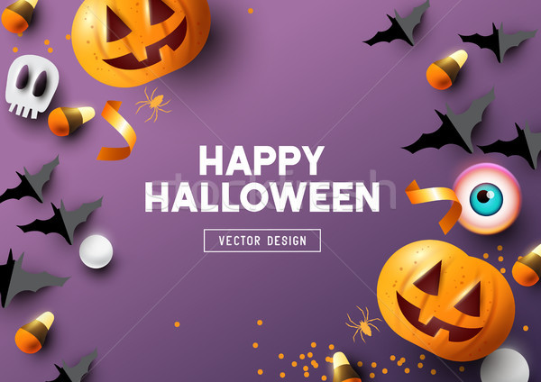 Happy Halloween Purple Frame Background Stock photo © solarseven