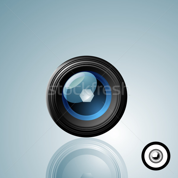 Kameralencse gomb feketefehér ikon verzió technológia Stock fotó © solarseven