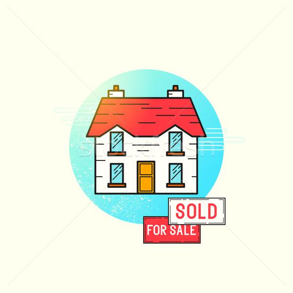 Ruchu domu ikona wektora dom wolnostojący sprzedaży Zdjęcia stock © solarseven
