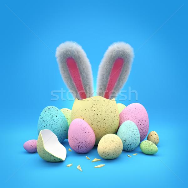 Conejo de Pascua Pascua chocolate huevos vacaciones fuera Foto stock © solarseven