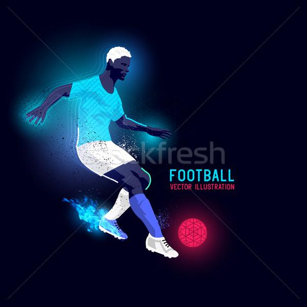 ストックフォト: ネオン · シルエット · テクスチャ · サッカー