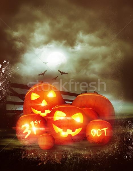 Vintage feliz halloween decorado abóboras ilustração Foto stock © solarseven