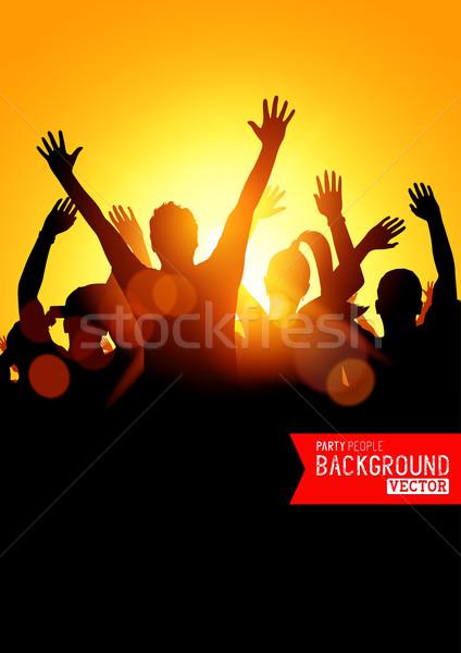 Stockfoto: Zomer · muziekfestival · reusachtig · menigte · jongeren · vieren
