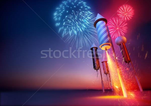Tűzijáték szikrák repülés tűzijáték születésnap háttér Stock fotó © solarseven