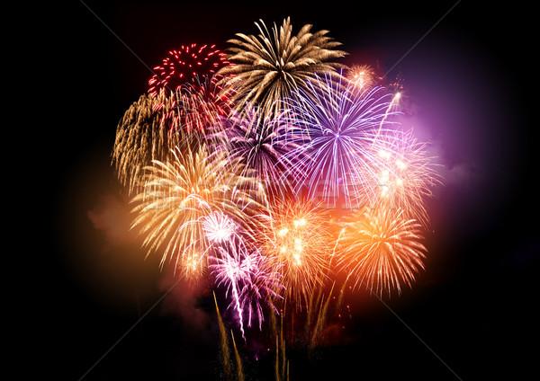 Foto stock: Colorido · fogos · de · artifício · brilhante · exibir · fogo · diversão