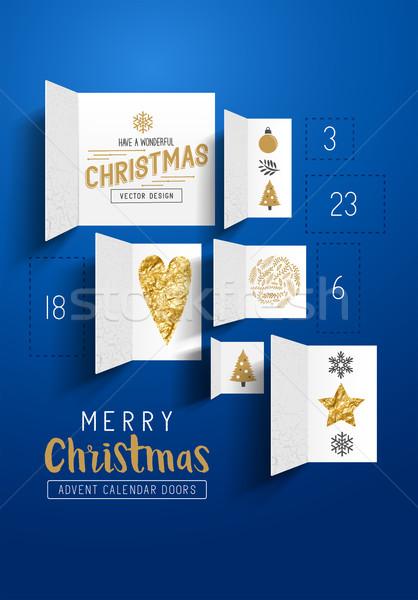 Karácsony advent naptár ajtók nyitva ünnepi Stock fotó © solarseven