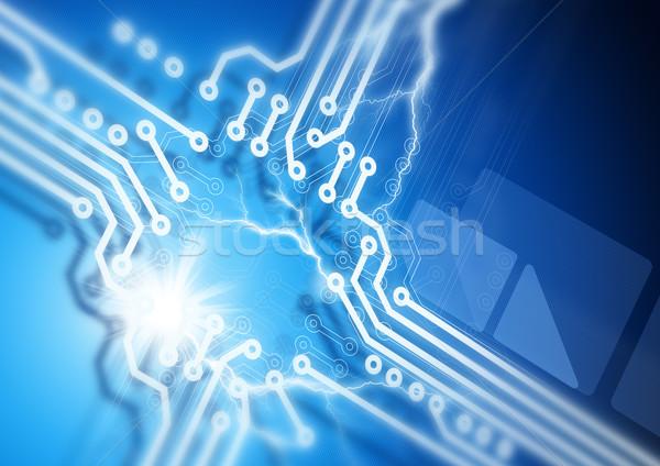 Platine Fusion abstrakten Netzwerk blau Kommunikation Stock foto © solarseven