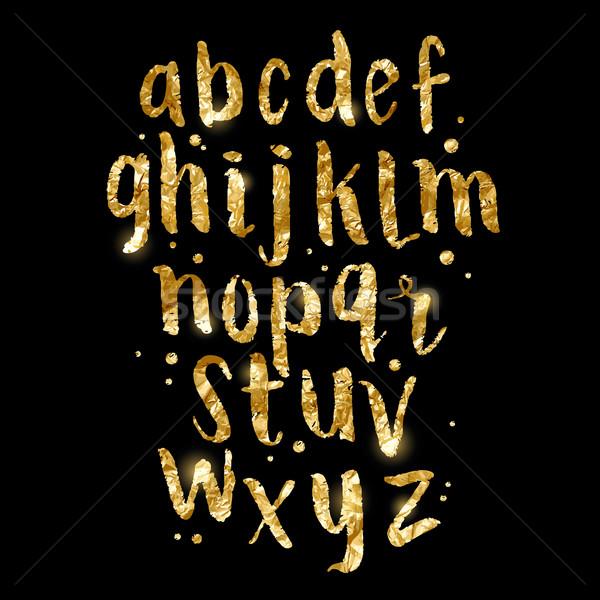 Gold foil glitter Brush Letters Stock photo © solarseven