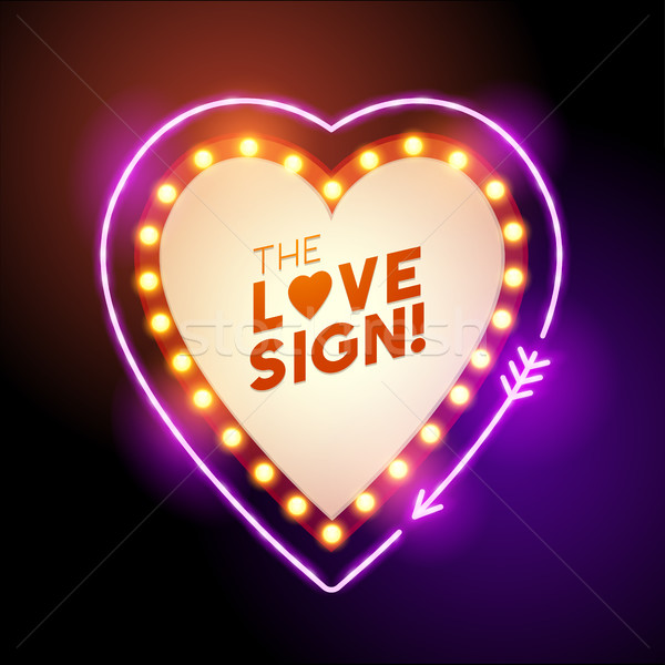 neon heart shaped love sign Stock photo © solarseven