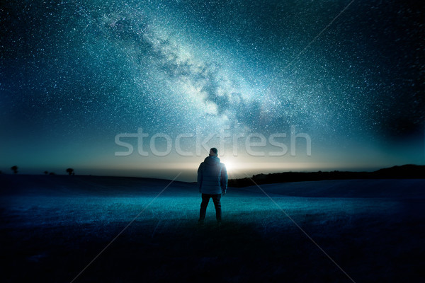 Milky Way Galaxy Night Time Landscape Stock photo © solarseven