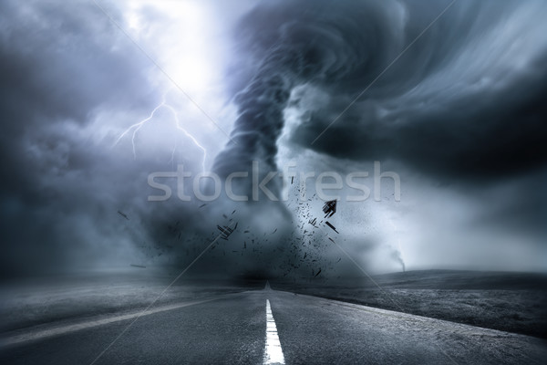 Puissant tornade tempête destruction illustration Photo stock © solarseven