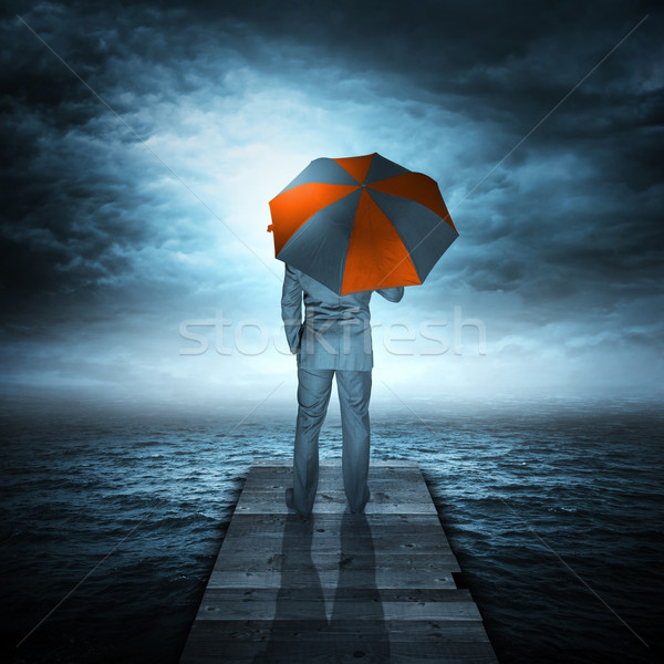 Businessman & Storm at Sea Stock photo © solarseven