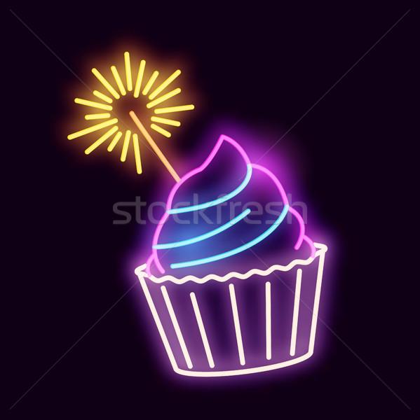 Neon sterretje licht teken Stockfoto © solarseven