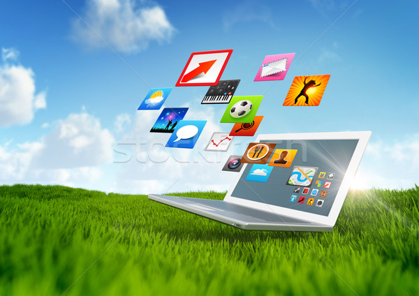 Stockfoto: Groene · technologie · notebook · software · toepassingen