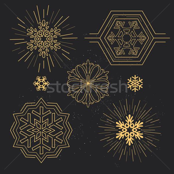 Kar tanesi desen geometrik kar altın siluet Stok fotoğraf © solarseven