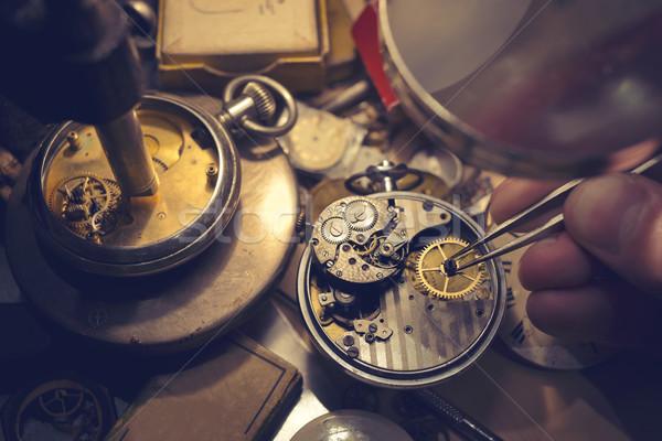 Horloge vintage automatisch klok tools Stockfoto © solarseven