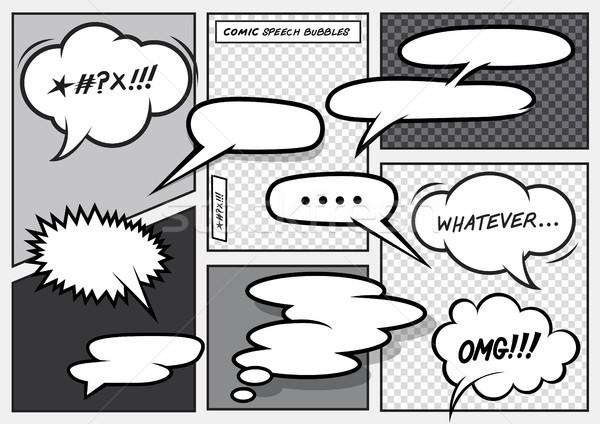 Cartoon Comic Speech Bubbles Stock photo © solarseven