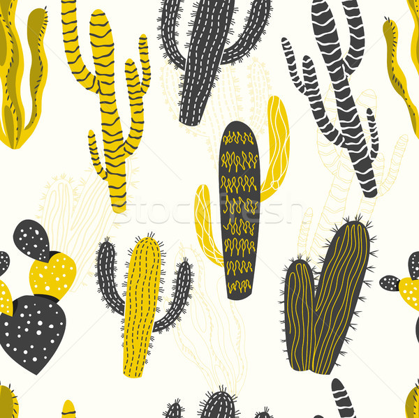 Cactus and Succulent Plants Seamless Pattern Stock photo © solarseven