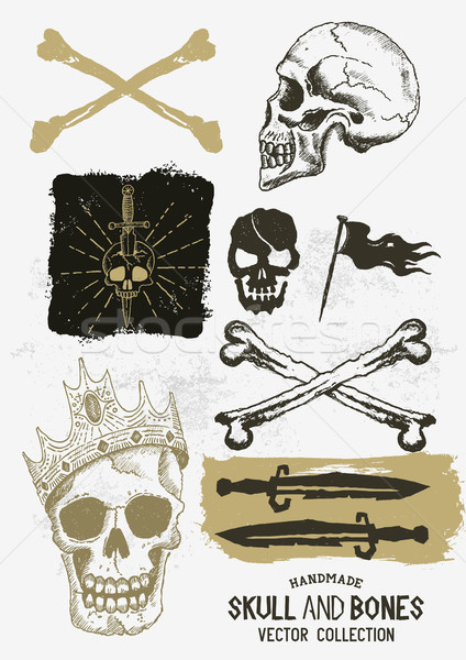 Vector Pirate Skull and Bones Set Stock photo © solarseven
