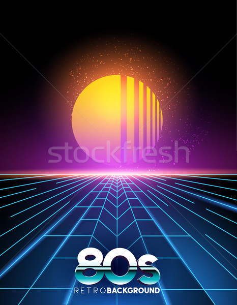 retro 1980's style neon digital abstract background Stock photo © solarseven