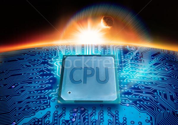 Moderna tecnología CPU circuito sol horizonte Foto stock © solarseven
