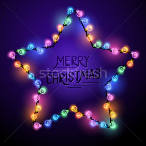 Natal estrela luzes sazonal decorações colorido Foto stock © solarseven