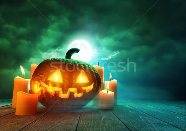 тыква Хэллоуин жуткий зеленый лунный свет Сток-фото © solarseven