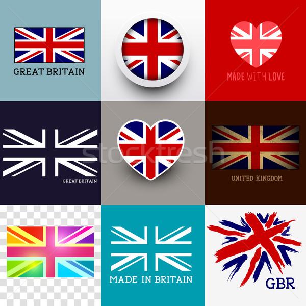 Vektor brit zászló zászló gyűjtemény szett különböző Stock fotó © solarseven