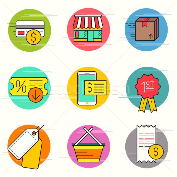 Shopping And Retail Icon Set Stock photo © solarseven