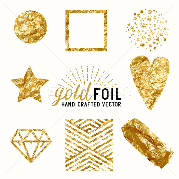 Vector Gold Foil Effect Set Stock photo © solarseven