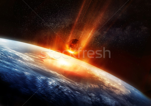 Stock photo: Large Meteor And Earth