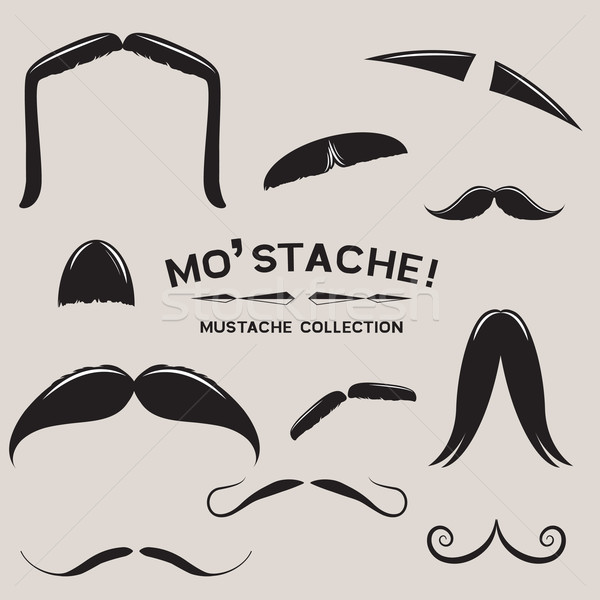 Vecteur moustache design cheveux bouche Photo stock © solarseven