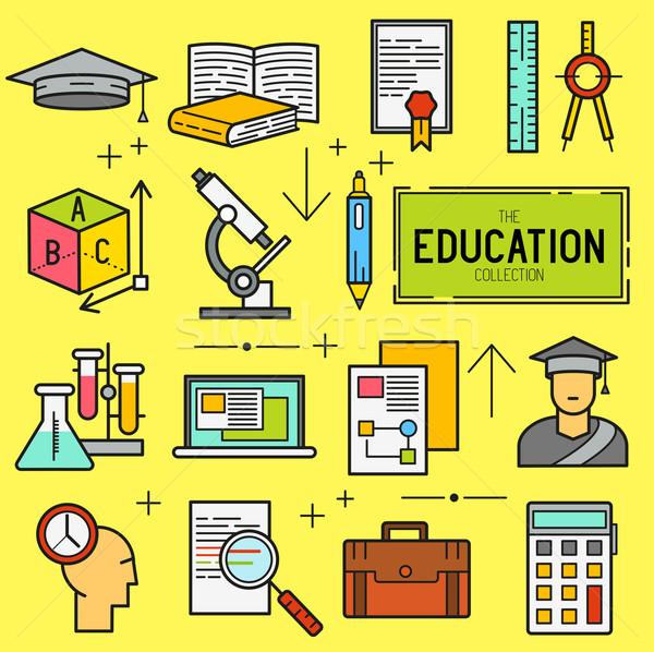 Education Vector Icon Set Stock photo © solarseven